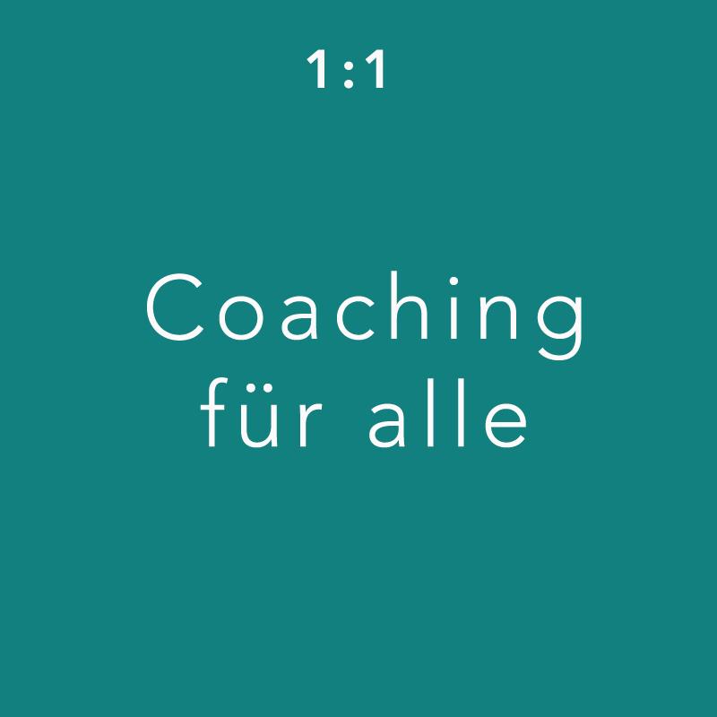Grüne Kachel Angebot 1:1 Coaching für alle